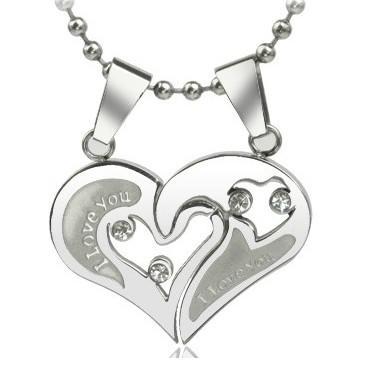 Casal eu te amo coração forma amante titanium aço pingente de colar de corrente de jóias de presente