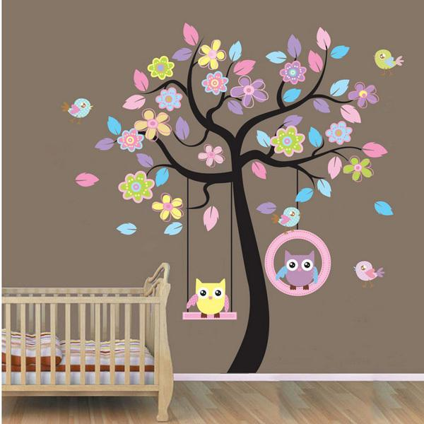 Wall Decor For Baby Room owl on swing birds flowers tree wall art decor decals kids nursery