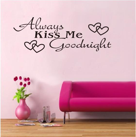 Toujours Kiss Me Goodnight Mur Art Sticker Autocollant Citation Chambre Vinyle Mur Murale