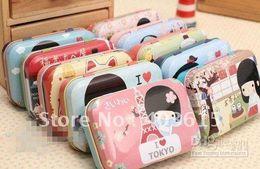 Wholesale Free Jane - Free shipping 24 pcs lot Fancy cute Jane TK girl tin pencil box pencil case bag 5cm*7.5cm