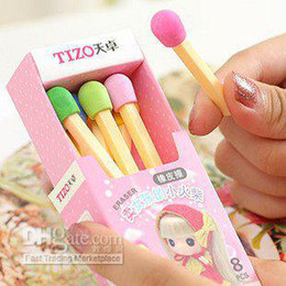 Wholesale Novelty Pencils Erasers - Matches Eraser, Children's little toy, Colorful Novelty Eraser , Kids stationary,Freeshipping, ZOT00