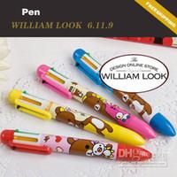 Wholesale Teddy Bears Order - Min.order is $25 (mix order) Stationery Teddy Bears 6 in 1 multi-color ballpoint pen cartoon pen pen