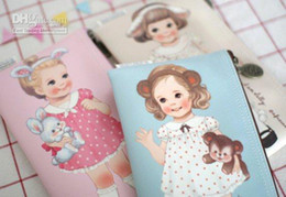 Wholesale Paper Doll Pencil - Free Shipping New Kawaii paper doll mate pu leather pencil bag   pencil pouch