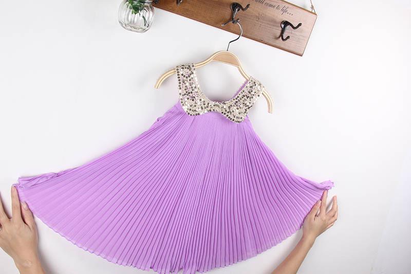 2013 ragazze abiti chiffon a pieghe pieghe gonne paillettes baby doll collare dress abbigliamento bambini