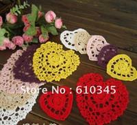 Wholesale Doily Hearts - Free shipping Heart Design hand made Crochet Doily,cup mat,coaste,crochet applique 9CMX8CM 20PCS LOT