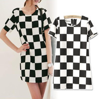 Wholesale Short Sleeve Check - New Fshion Womens Lady Sexy Black White Check Short Sleeve Bodycon Zip Back MINI OL Dress Checkerboard drop shipping