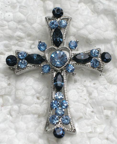 2 pcs / lot En Gros De Mode Cristal Strass Broche Croix Croix Costume Broches Cadeau Bijoux Accessoires C254