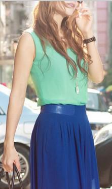 Nueva Llegada Moda Europeo Popular Estilo Color Candy Colors O-Cuello Sin mangas de gasa Mujer Blusa Dama Sexy Blusa Envío Gratis