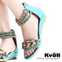 Wholesale Red Heels Kvoll - Sandals Kvoll PU middle heel Sandals Colorful Diamond beaded chain wriststrap Eur size35-40