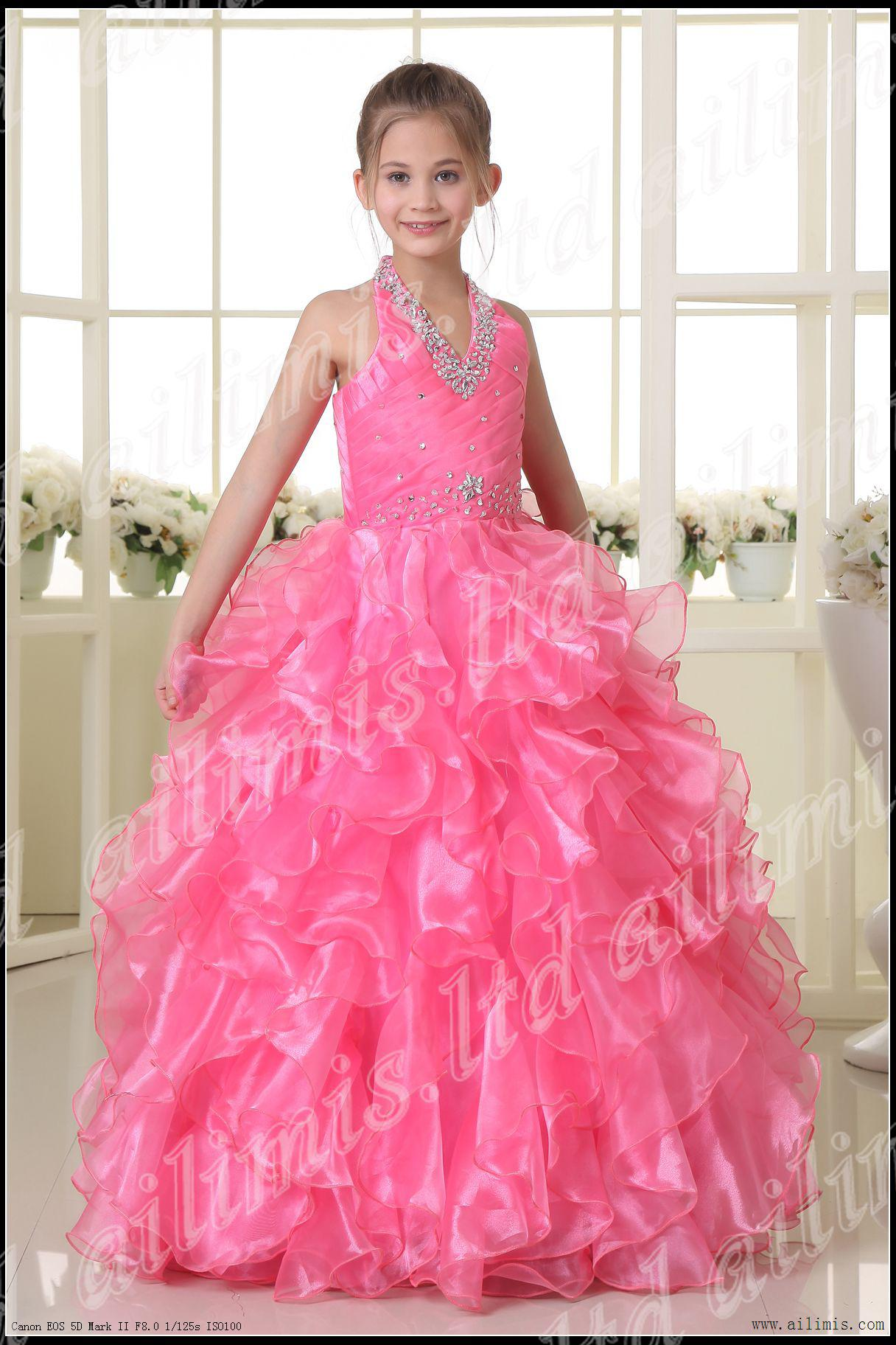 Newest Pink Princess Little Girl Pageant Ball Gowns Organza ...