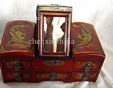 2017 Jewelry Boxes Bride Makeup Box Wooden Chinese Dragon Phoenix