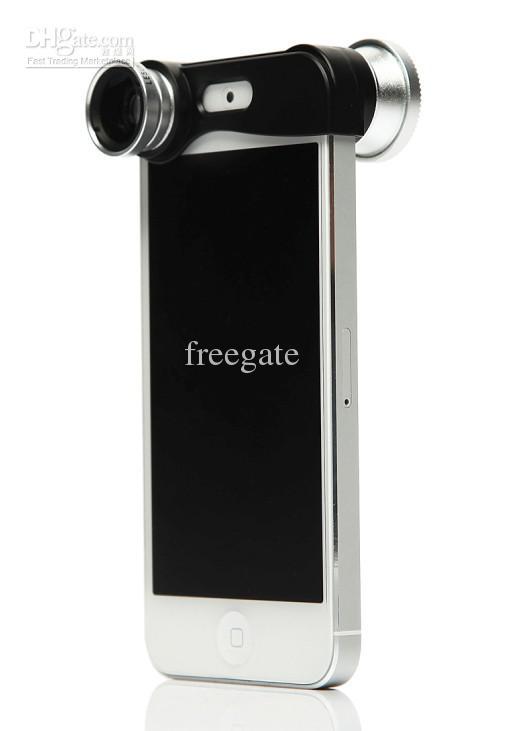 3-i-1-objektiv 180 graders fisköglins + vidvinkelobjektiv + makrolinsats för iPhone 5 / 5s