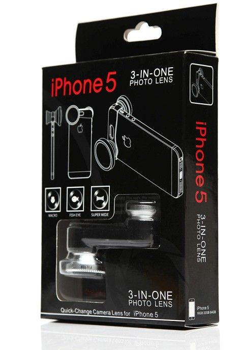 3-in-1レンズ180度フィッシュアイレンズ+ワイドアングルレンズ+ iPhone 5 / 5S用のマクロレンズキット