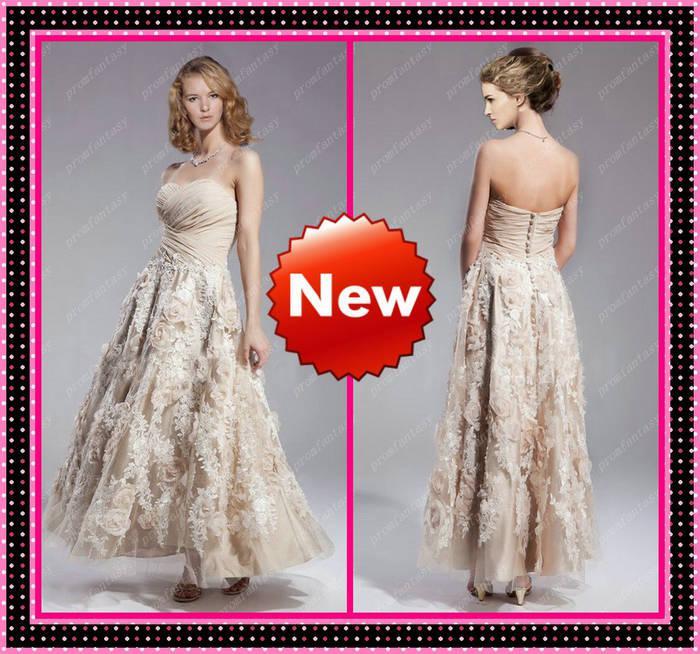 2015 New Unique Tea Length Elegant Bridal Gowns Applique