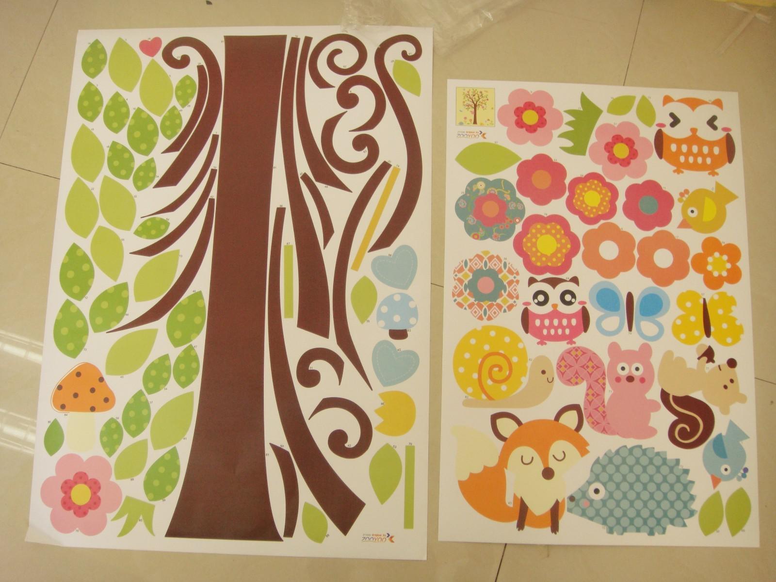 Giant Nursery Wall Decal Scroll Tree Owl Jungle Animal ...