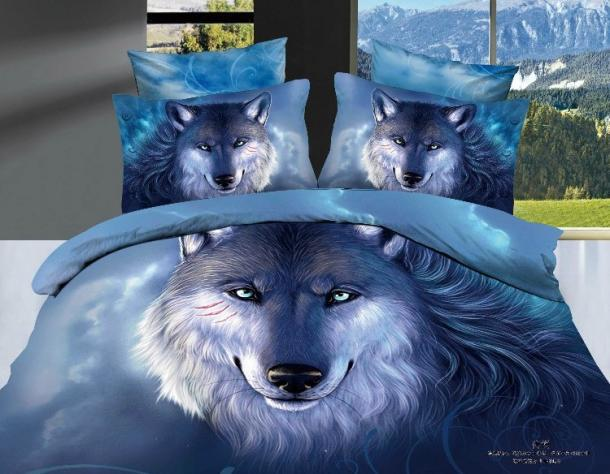 3D Blue Snow Fox Wolf Bedding Comforter Set Sets Queen