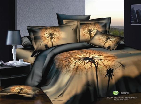 3d Dandelion Floral Bedding Comforter Set Blue Queen Size