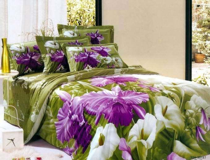 Purple Green Flower Floral Bedding Comforter Set Queen