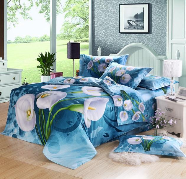 3d Blue Floral Flower Comforter Bedding Set Queen Size