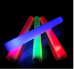 Wholesale Light Foam Sticks - 4 * 48cm led foam stick light up cheering Glow sticks Party props sponge stick flash stick EMS shipping 3 Color (Red Green Blue)