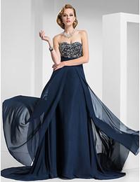 Wholesale Navy Blue Strapless Beads Party Dresses Evening Dresses Prom Dress Pageant Dress SZ HP418146