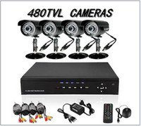 Wholesale Dvr Kit Ch - 4 CH CCTV Security Cameras DVR System 4ch Kit for DIY CCTV Systems Outdoor & In with 500GB HDD H011