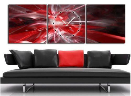 Red Canvas Wall Art 2017 red & silver abstract canvas prints set of 3 with clock