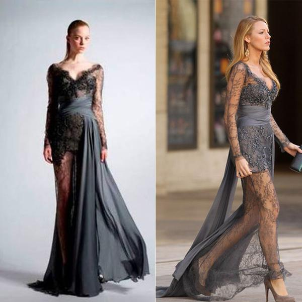 2015 sexy gossip girl blake gris zuhair murad manches longues voir travers la robe en. Black Bedroom Furniture Sets. Home Design Ideas