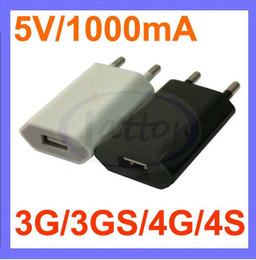 Wholesale Iphone 4s Dhl - Factory price 100pc lot 5V 1000mA AC Power USB Wall Charger For iPhone 6 6PLUS 4 4S 5S iPod EU US Plug DHL free shipping