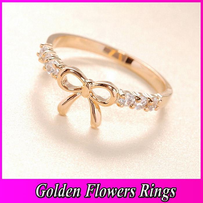 Crystal Bow Tie Wedding Ring 2013 New Cheap Korea Lovely Women ...