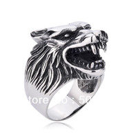 Wholesale wolf fingers - PUNK rock gothic Men's Big Wolf ring in stainless steel guaranteed 100% free shipping for finger