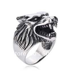 Wholesale Wolf Band Ring - PUNK rock gothic Men's Big Wolf ring in stainless steel guaranteed 100% free shipping for finger