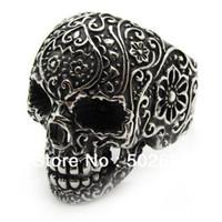 Wholesale Flower Poker - no MOQ 316L stainless steel Men's PUNK gothic poker flower finger skull ring in antique silver