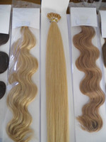 """Wholesale Stick I Tip Wholesale - MIRACLE 18"""" 20"""" 22"""" 24"""" blond Wavy Remy pre-bonded Stick I Tip Human REMY Hair Extensions 100g pk 0.8g 1g"""