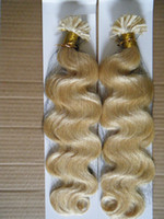 "Wholesale Human Wavy Hair U Tip - MIRACLE hot fusion keratin nail U tip human hair extension Indian remy 18""20""22""24"" Wavy #1 #1b #2 #4 #6 #8 #22 #24 #27 #613 #60"