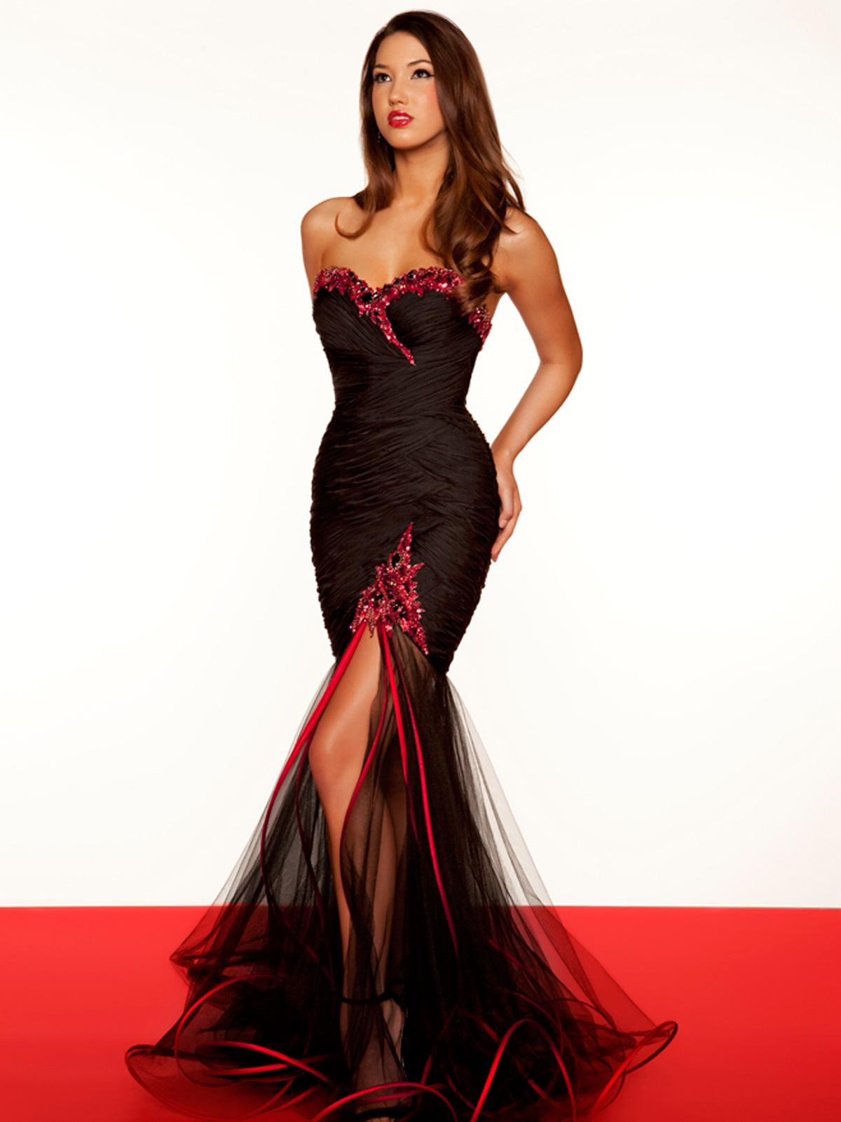 Red Piping Black Tulle Strictly Decorative Sexy Mermaid Prom ...