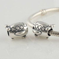 Wholesale Travel Charms Sterling Silver - High-quality 100% 925 Sterling Silver Airplane Travel Charm Bead Fit Pandora European Charm Jewelry Bracelets & Necklaces
