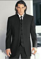 Wholesale Hot Men Wedding Suit - Hot Sale Black Groom Tuxedos Mandarin Lapel Groomsmen Men Wedding Suits(Jacket+Pants+Tie+Vest)H466