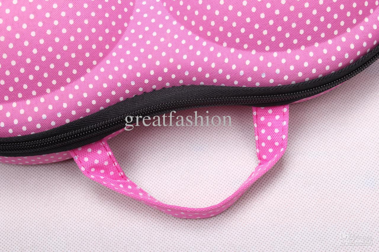 EVA Travel bra bag bra case pink white dots lingerie bag underwear organizer,Ladies's Gift