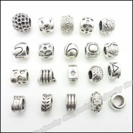 Wholesale Large Oval Beads - Mix Antique silver charms Large Hole Beads suitable for DIY European bracelet zinc alloy 120pcs lot