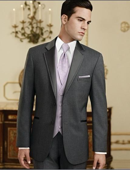 New Charcoal Grey Groom Tuxedos Notch Lapel Groomsmen Men Wedding ...