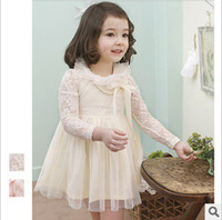 Wholesale Korean Long Sleeves For Girls - Lace Girls Party Dresses Autumn Lace Butterfly Long Sleeve Princess Dress for Kids Korean Bow Sweet Fashion Childrean Tulle Tutu Dress 0029