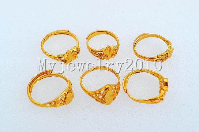 Rings Jewelry Mixed Jewerly Alloy Gold P Ring 17-19mm include box #418