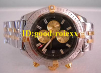 Wholesale Evolution Watch - Luxury Mens Quartz Chronograph Windrider Chronomat Watch Evolution 2 Tone Gold Dive Watches