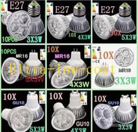12w led spot ışık toptan satış-5 adet / grup GU10 MR16 4X3 W 12 W Dim LED Lamba 85 V-265 V Led Işık Enerji Tasarruf Spot 4CREE LEDS