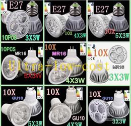 5 pçs / lote GU10 MR16 4X3 W 12 W Regulável LED Lâmpada 85 V-265 V Led Light Energy Saving Holofotes 4CREE LEDS de