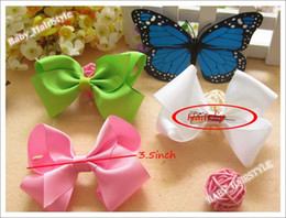 Wholesale Kid Butterfly Barrettes - 50pcs 3.5inch Bowknot Butterfly for Baby Girl's Headwear Bowknot+ Hair Bows Kids Hair Accessories