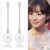 Wholesale Silver Teardrop Pearl Earrings - 8-9mm Long section of natural pearl earrings teardrop-shaped S925 Silver