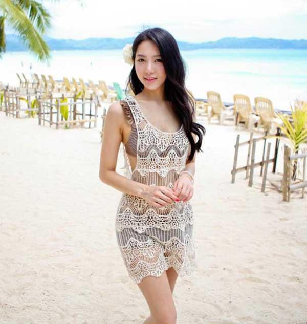 c02309759e Cut Out Crocheted Lace Long Top Lady Bikini Cover Mini Beach Dress Beige S  #DKJ Fashion Dresses Halter Dress From Electronicoriental, $17.09|  DHgate.Com