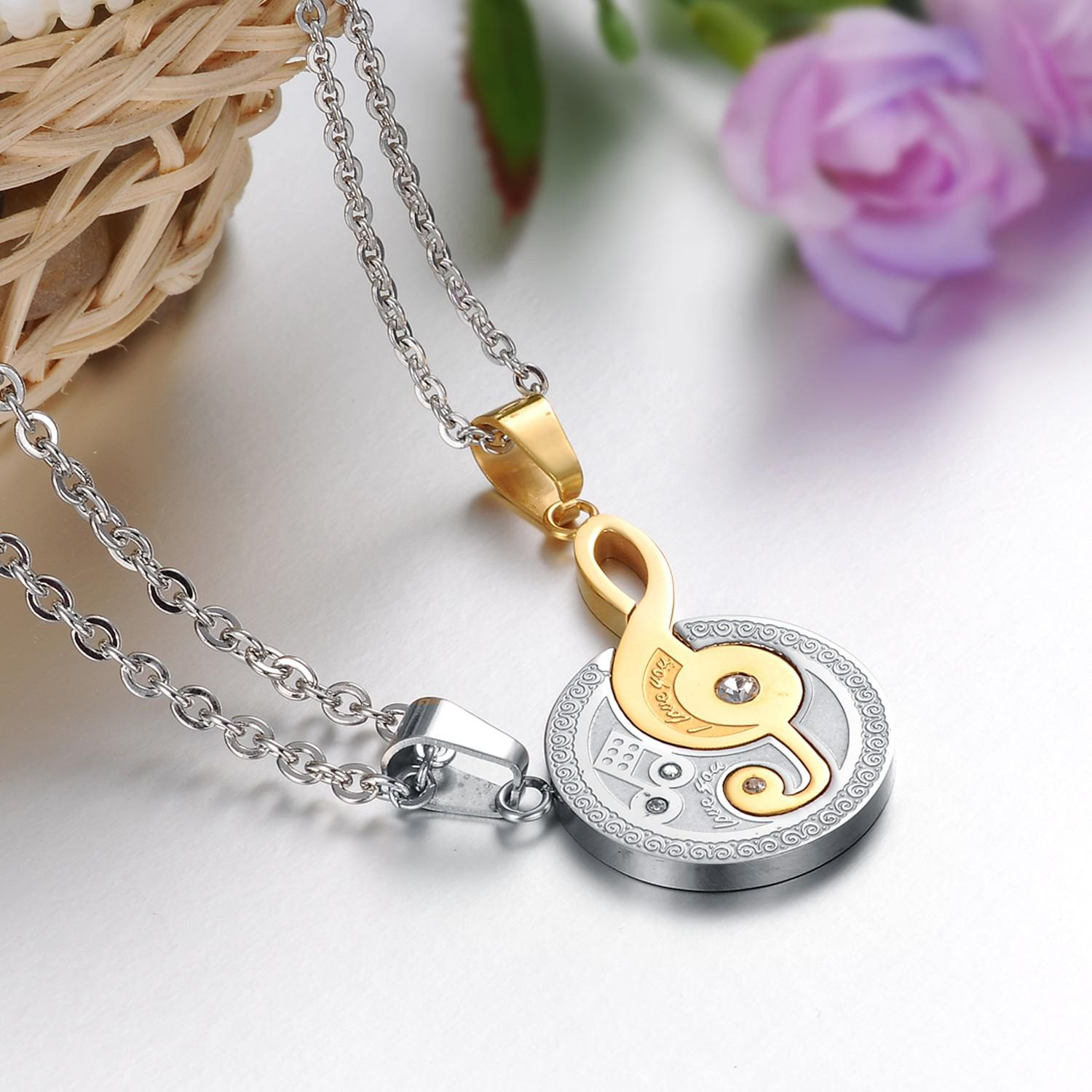 design product for couple two key steel wholesale with necklace heart free titanium lock chains half puzzle pendant